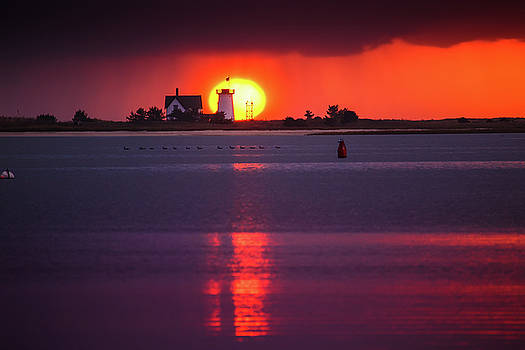 Stage Harbor Lighthouse in Chatham at Sunset by Dapixara Art