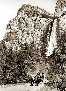 California Views Mr Pat Hathaway Archives - Stagecoach and Bridalveil Falls Yosemite Valley circa 1900