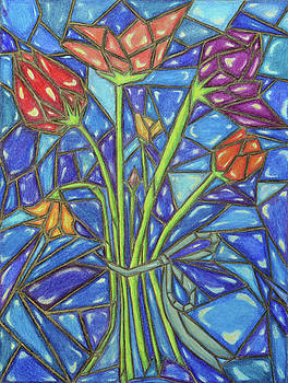 Stained Glass Flowers with Deep Blue Background by Lisa Von Biela