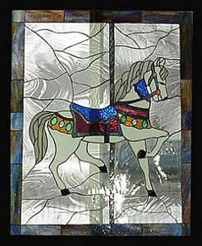 Stained Glass Window Carousel Horse No. 1 Original by Phil And Brenda Petersen