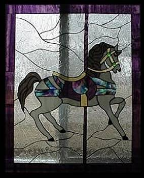 Stained Glass Window Carousel Horse No. 2 Original by Phil and Brenda Petersen