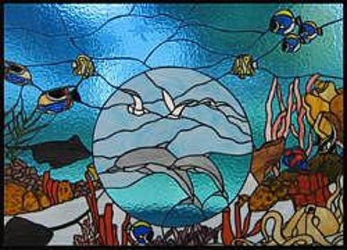 Stained Glass Window Enchantment Under The Sea Original by Phil And Brenda Petersen