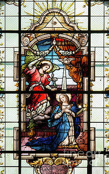 Stained glass window in the church of the Visitation in Skoky vi by Michal Boubin