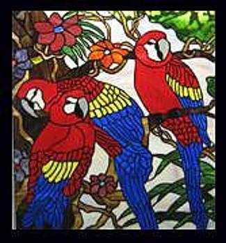 Stained Glass Window Macaws by Phil And Brenda Petersen