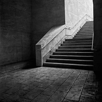 Staircase Into Light BW Parking Structure by YoPedro