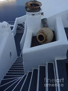 Stairs and clay in Santorini by Mitzisan Art LLC