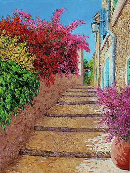 Stairs in the shade of bougainvillea by Jean-Marc JANIACZYK