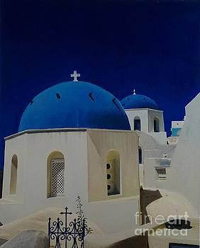 Stairway to Heaven in Santorini by Mitzisan Art LLC