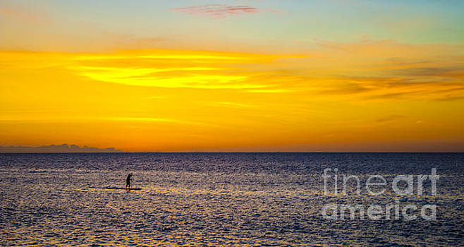 Stand Up Paddle Surfer in Kauai Channel at Sunset by Gregory Schultz