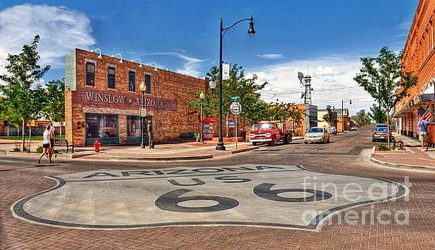 Standin on the Corner Route 66 by John Kelly