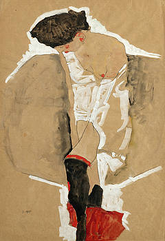 Egon Schiele - Standing Female in Shirt with Black Stockings and Red Scarf