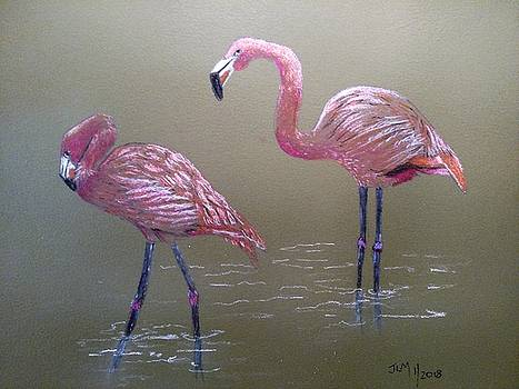 Standing Flamingos by Joan Mansson
