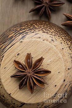 Star Anise On Wooden Bowl by Edward Fielding