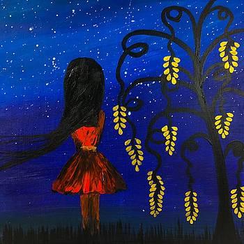 Star Gazing - Naive Painting  by Ed Berlyn