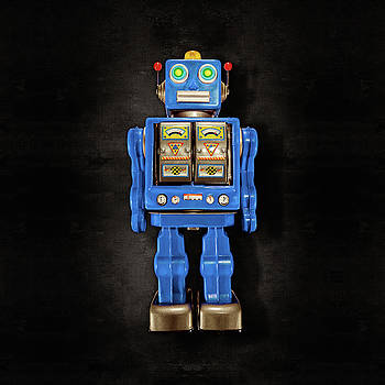 Star Strider Robot Blue on Black by YoPedro