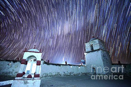 James Brunker - Star Trails Above Parinacota Village Church Chile