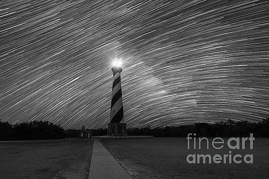 Star Trails behind Cape Hatteras Light BW by Michael Ver Sprill