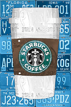 Starbucks Coffee Cup Recycled Vintage License Plate Pop Art by Design Turnpike
