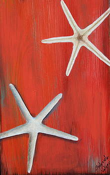 Starfish On Red by Gabriela Valencia
