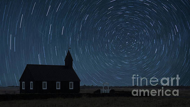 Starry Night at the Black Church Iceland by Jerry Fornarotto