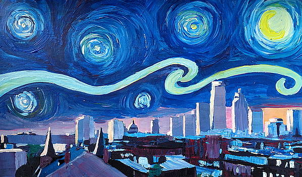 Starry Night in Boston - Van Gogh Inspirations with Massachusetts Skyline at Sunrise by M Bleichner