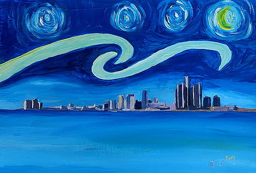 Starry Night in Detroit - Van Gogh Inspirations with Skyline Lake Michigan by M Bleichner