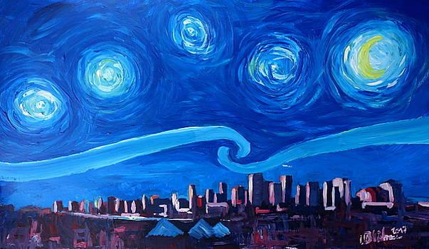 Starry Night in Edmonton Canada - Van Gogh Inspirations in Alberta by M Bleichner