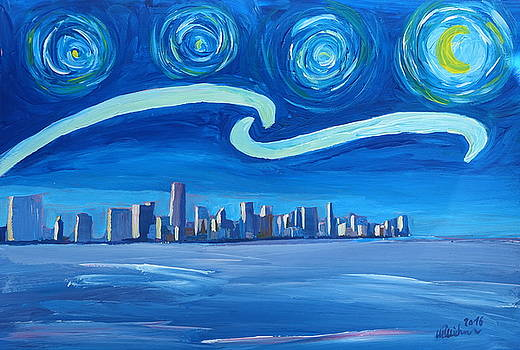 Starry Night in Miami - Van Gogh Inspirations with Skyline Silhouette at Sunset Florida - by M Bleichner