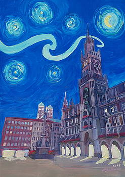 Starry Night In Munich - Van Gogh Inspirations with Church of Our Lady and City Hall Aktiv by M Bleichner