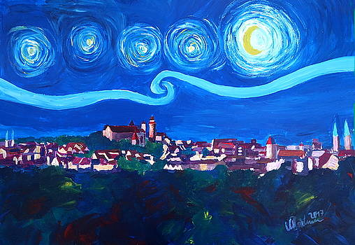Starry Night in Nuremberg - Van Gogh Inspirations with Imperial Castle by M Bleichner