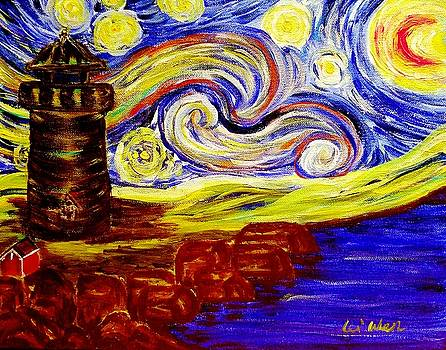 Starry Night over Nubble Lighthouse  by Lei Wen