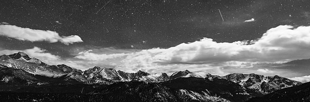 James BO Insogna - Starry Night Rocky Mountain Black and White Panorama