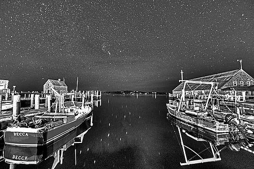 Starry Skies over Edgartown ma cape cod Black and White by Toby McGuire