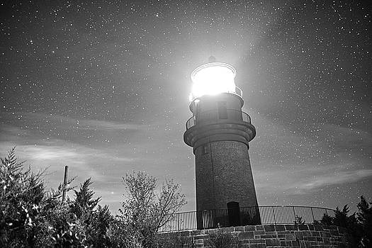 Starry Sky over the Gay Head lighthouse Aquinnah MA Cape Cod Martha's Vineyard  Black and White by Toby McGuire