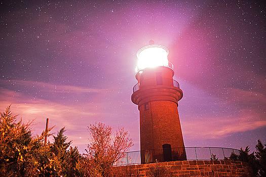Starry Sky over the Gay Head lighthouse Aquinnah MA Cape Cod Martha's Vineyard  by Toby McGuire