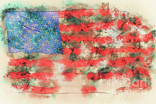 Stars and stripes watercolor by Delphimages Photo Creations
