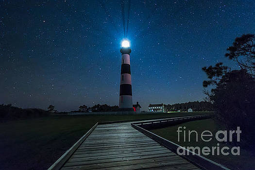 Stars at Bodie Island Light House by Robert Loe