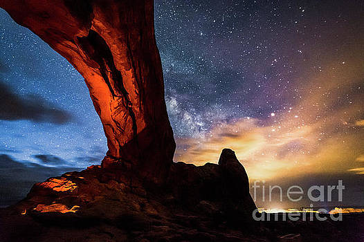 Tibor Vari - Stars at North Window in Arches National Park