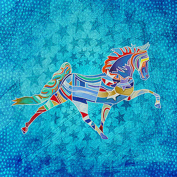 Stars Horse In Blue Stars 02 by Gray