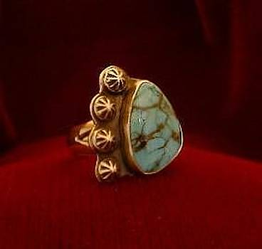 Stars In The Nite Sky  Turquoise Ring by Eddie Romero