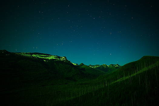 Stars mountains and a little light by Jeff Swan