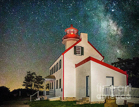 Stars of the Milky Way Over East Point Light by Nick Zelinsky