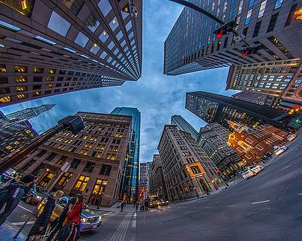 State Street Look Up Boston MA by Bryan Xavier