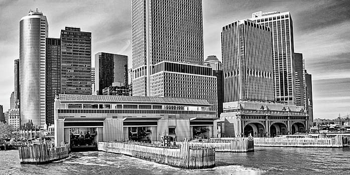 Staten Island Ferry Docks in B and W by Frank Morales Jr
