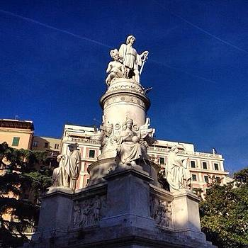 Statue Of Columbus In Genoa, Liguria by Stefano Bagnasco