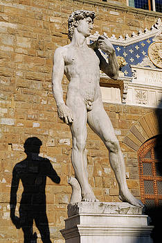 Reimar Gaertner - Statue of David by Michelangelo and his shadow in Signoria Squar