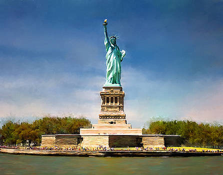 Statue of Liberty Landscape Art Painting by Andres Ramos