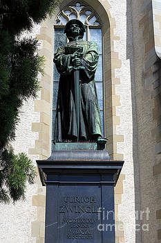 Statue of Ulrich Zwingli in Zurich Switzerland by Louise Heusinkveld