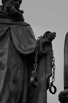 Colin Cuthbert - Statue with Shackles in Black and White