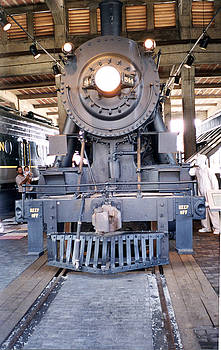 Steam Engine in the Roundhouse by Linda Geiger